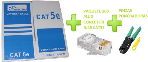 cable red utp rj45 cat5e 305mts mas 100 plug rj45 y pinzas