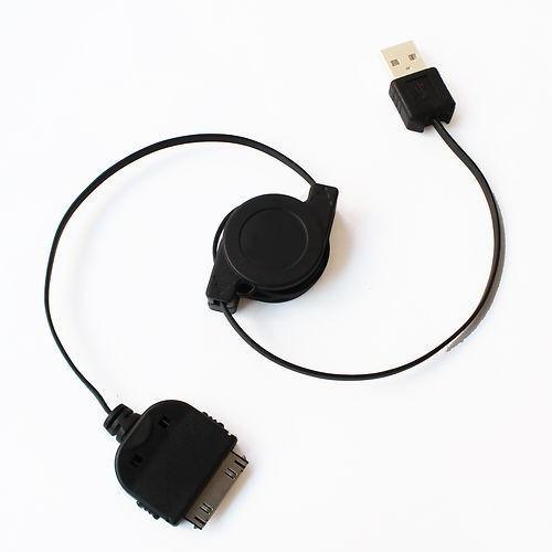 cable retractil datos y carga de iphone ipod calidad negro