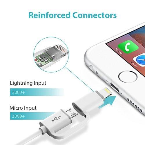 cable romoss 2-en-1 lightning y micro usb, sincronización d