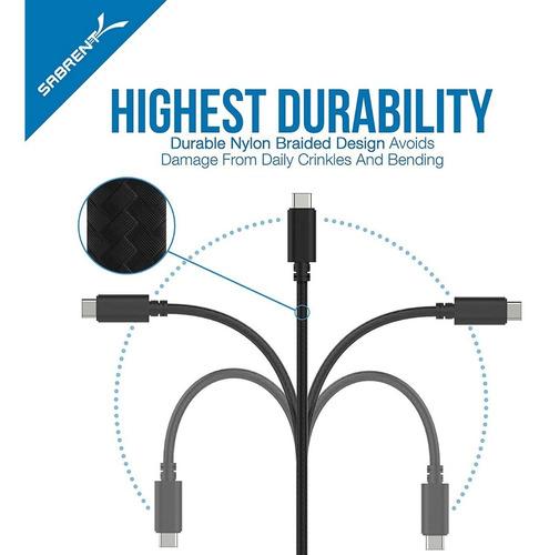 cable - sabrent - usb-c a usb 3.0 premium 22awg nylon 90cm