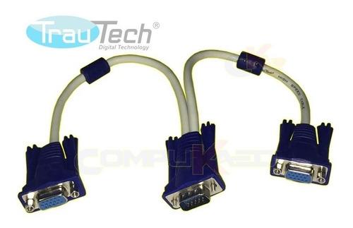 cable splitter vga trautech tipo y divisor de 1 a 2 salidas