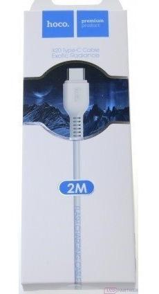 cable tipo c 2 metros hoco blanco x20