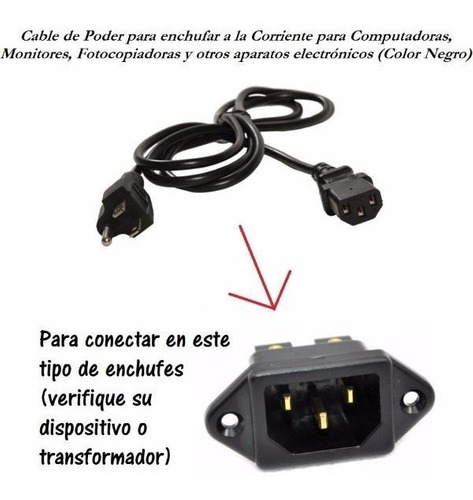 cable trifasico de corriente alimentacion pc cpu monitor 1.4