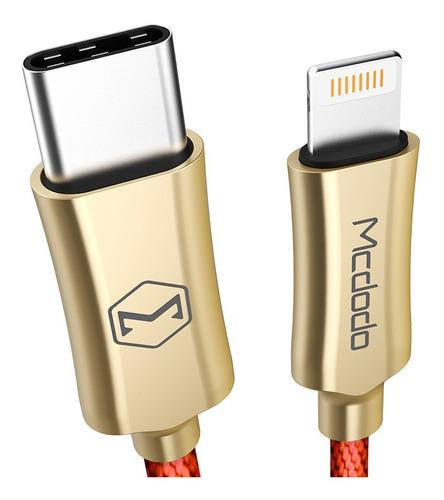 cable type c a lightning 2 amp - mcdodo original - carga rápida 1,20 metros. color rojo