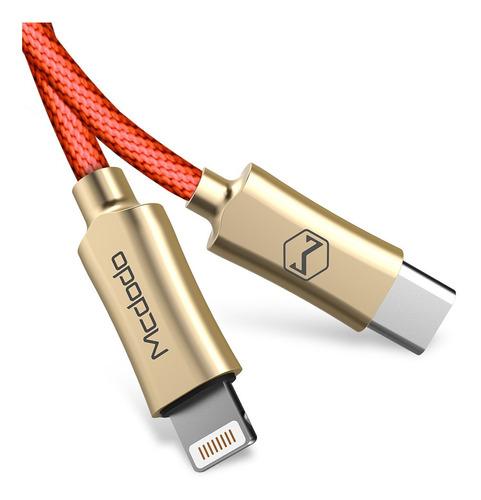 cable type c a lightning 2 amp - mcdodo original - carga rápida 1,80 metros. color rojo