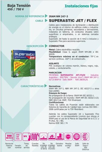 cable unipolar 1,5mm superastic jet prysmian pirelli x metro