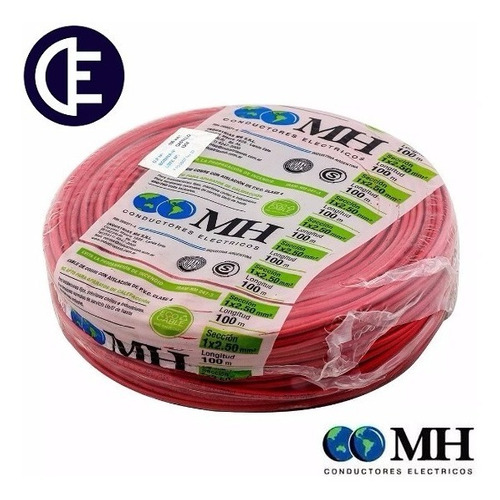 cable unipolar 2.5 mm2 nor. iram 100 mts rojo m.h