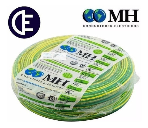 cable unipolar 2.5 mm2 nor. iram 100 mts verde-amarillo m.h