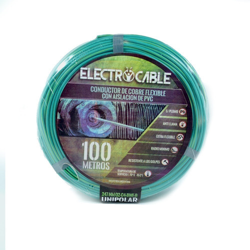 cable unipolar 6mm electrocable rollo x 50 metros verde