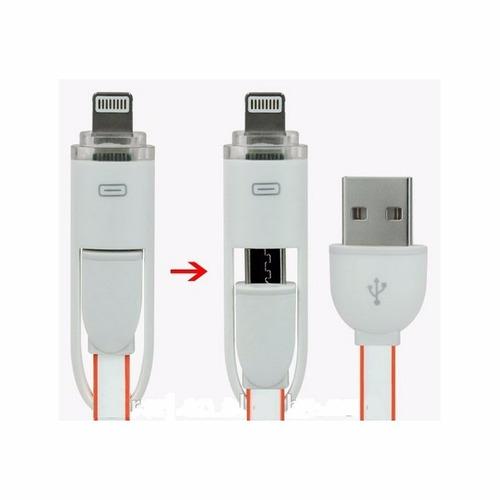 cable usb 2 en 1 iphone 5/6 v8 apple