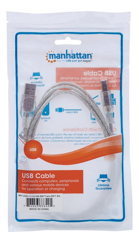 cable usb 2.0 manhattan a-b de 1.8 mts plata