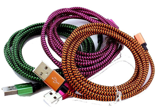 cable usb a lightning 1metro de 2 amper mallado, de tela resistente. carga rápida. apple iphone 6,7,8,x,xr,xs - ipad