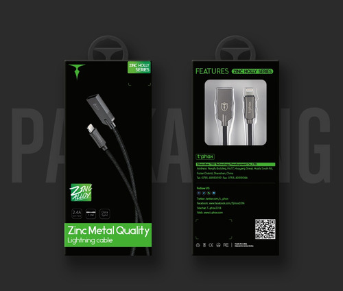 cable usb a lightning zinc holly serie fichas metal 1m