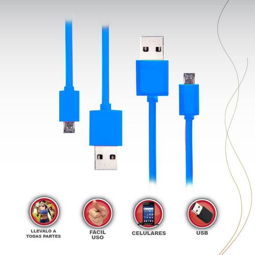 cable usb a micro usb varios colores v8 samsung, lg, xperia