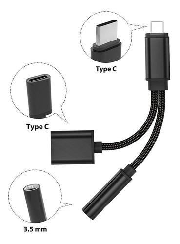 cable usb a tipo-c y audio 3.5mm / carga y escucha musica