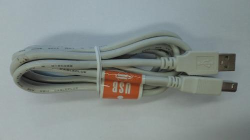 cable usb a/b 2.0 para impresora 2 mts gris claro (rz#3563)