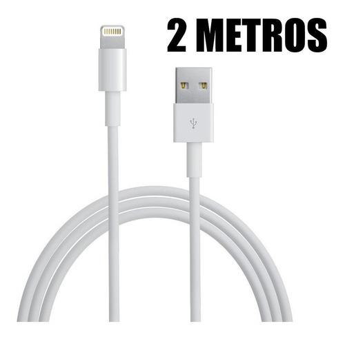 cable usb cargador largo 2 mts. iphone 5 6 7 8 plus x xr xs