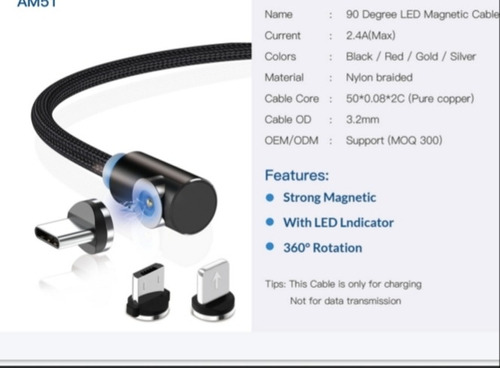 cable usb cargador magnetico android iphone