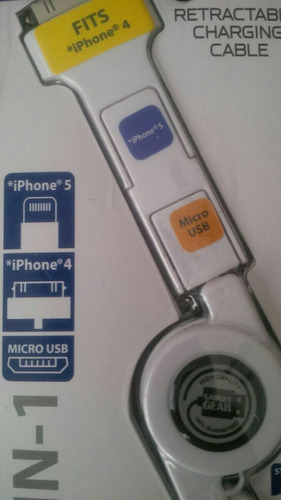 cable usb cargador retractil 3 en 1 iphone 3,3s, 4,4s,5 y 5s