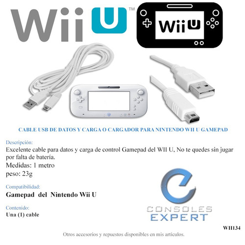 cable usb datos y carga cargador para nintendo wii u gamepad