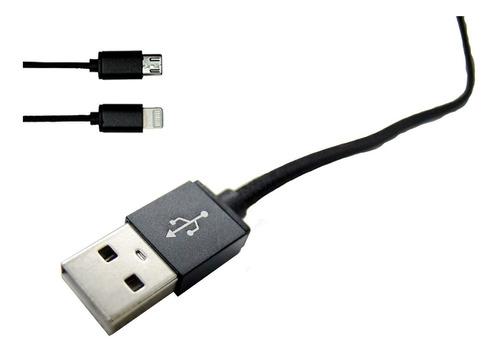 cable usb de carga doble tipo cierre micro usb y lightning