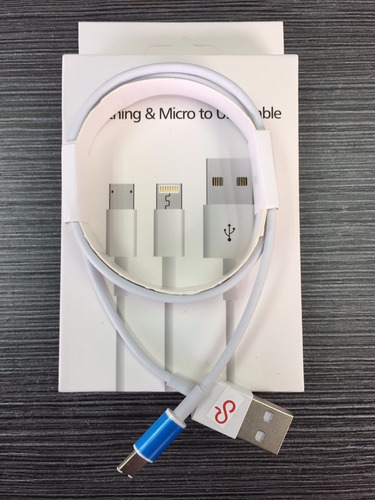 cable usb dual micro/lightning android / iphone