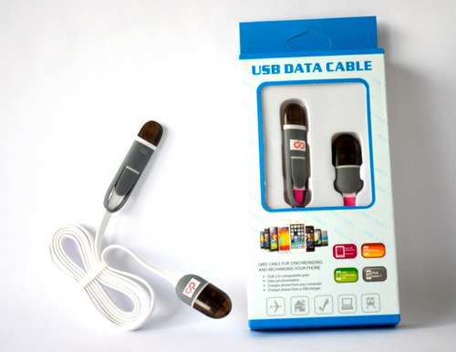 cable usb dual micro/lightning android / iphone plano