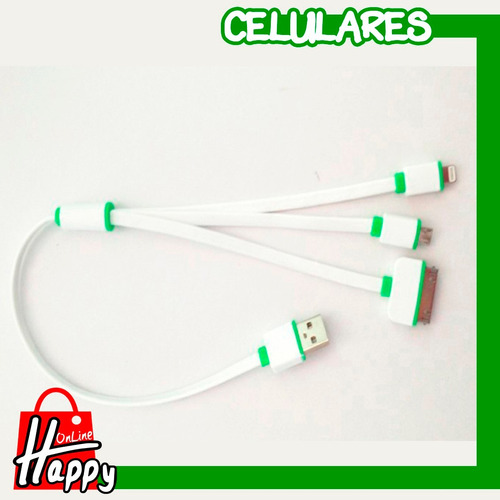 cable usb genérico 3 en 1 para iphone - ipad - ipod de apple