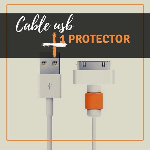 cable usb iphone 4 4s ipod y ipad + 1 protector