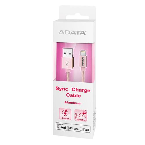 cable usb lightning aluminio carga & sync apple rosa adata