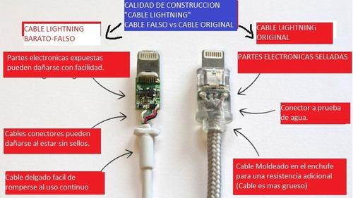 cable usb lightning+cargador iphone x/5/6/7/8 original apple