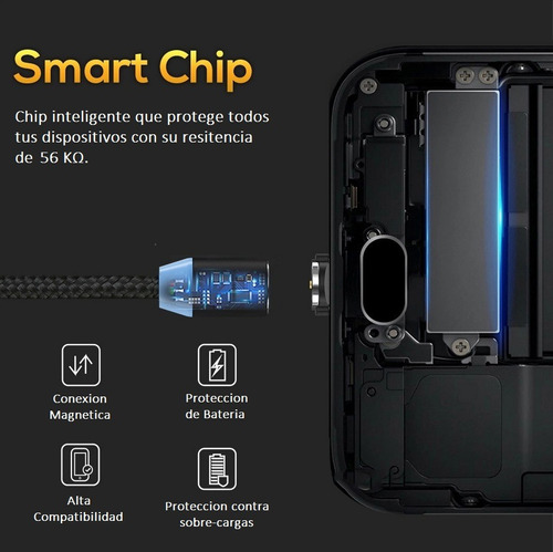 cable usb magnetico topk 3 en 1 micro usb, tipo c, iphone, 1 metro