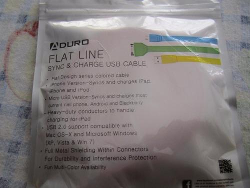cable usb marca aduro para tablet,computadoras, celulares
