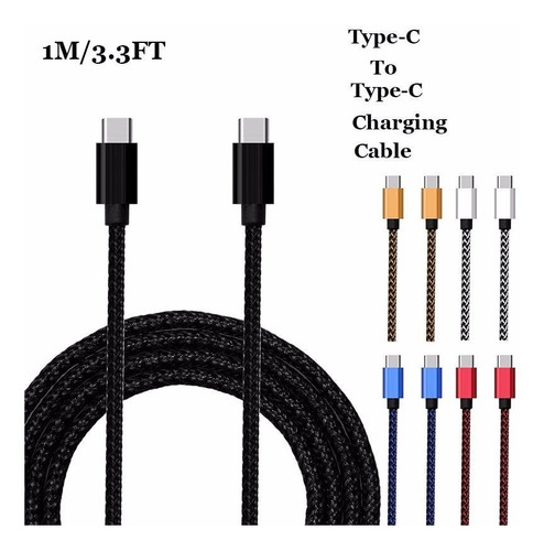 cable usb tipo c a tipo c reforzado