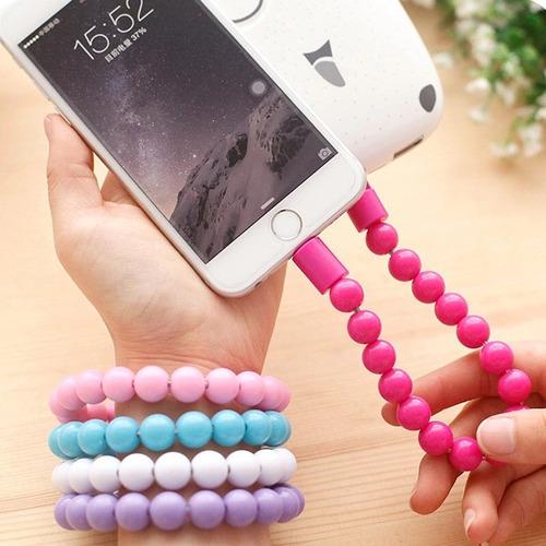 cable usb v8 2.0 pulsera perlitas samsung nokia celu tablet