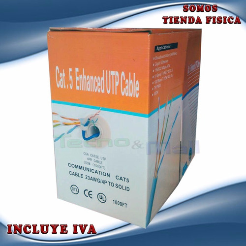 cable utp 300 mts azul cat5 intemperie para redes y cctv