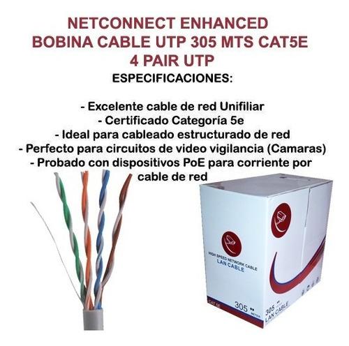 cable utp cat 5e bobina 305 mts rj45 cctv redes seguridad ml