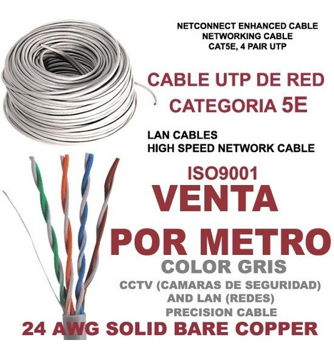 cable utp cat5e 50 metros rj45 cctv redes seguridad lan ml