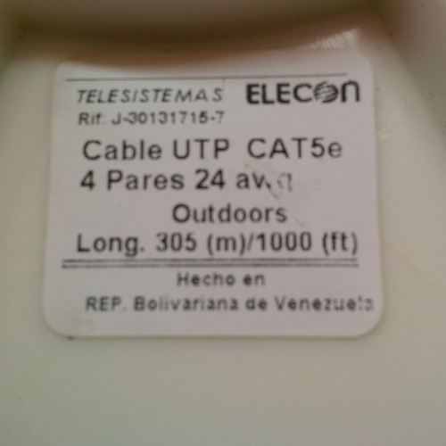 cable utp cat5e bobina cctv intemperie exterior elecon