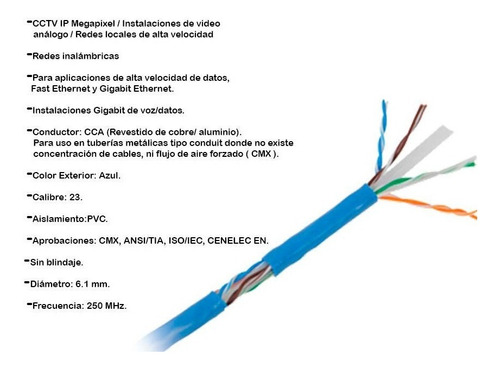 cable utp cat6 19 mts azul super flexible linkedpro