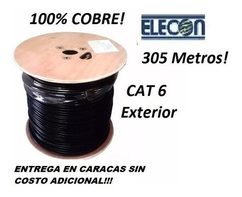 cable utp cat6 305mts 100% cobre intemperie exterior elecon