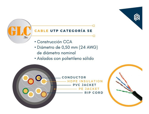 cable utp exterior cat 5e glc *max 100% cobre bobina 305 mts