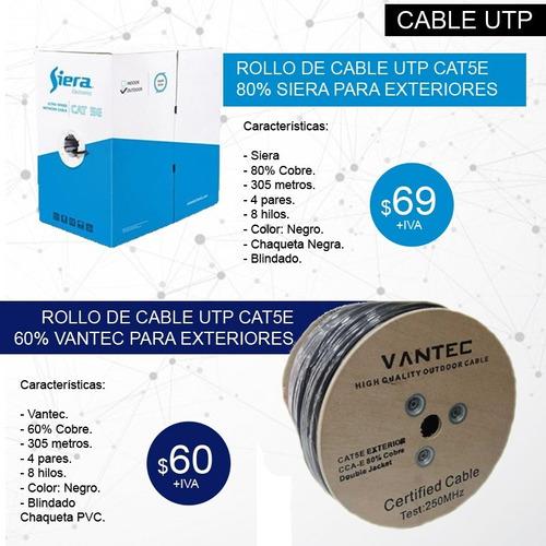cable utp para exterior cat6  rollo 305m 80 cobre blindado