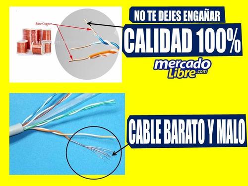 cable utp por metros + conectores + botas  cat5e internet