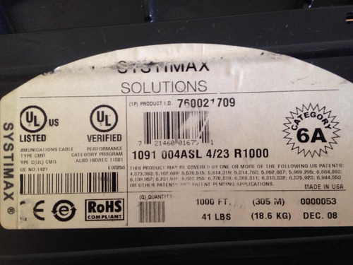 cable utp systimax solution cat6a