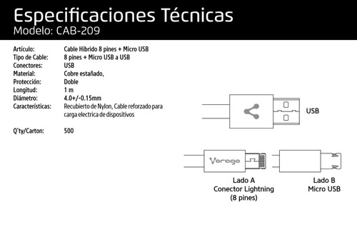 cable v8 micro usb lightning hibrido 2 en 1 vorago cab-209 n