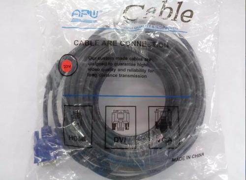 cable vga 20 mts macho macho doble filtros 15 pin calidad