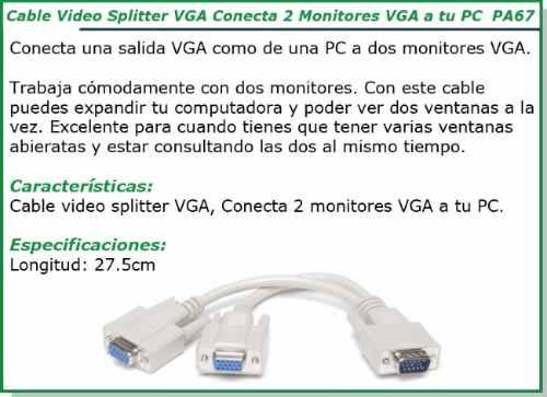 cable vga a 2 vga splitter 2 monitores de un puerto vga