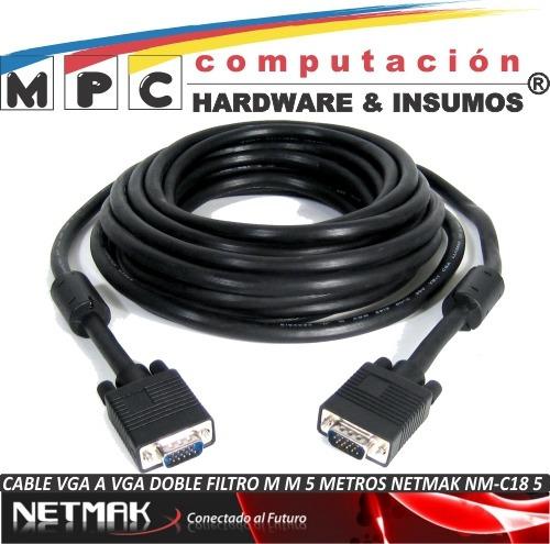 cable vga a vga doble filtro m m 5 metros netmak nm-c18_5