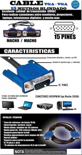 cable vga a vga macho 15 metros proyector pc envio gratis!!!